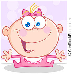 Funny Baby Girl With Open Arms Cartoon Character