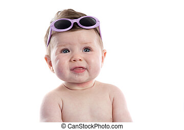 Funny baby girl with sunglasses