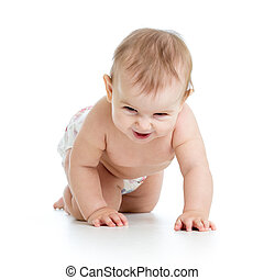 Funny baby weared nappy crawling on floor. Isolated on white background.