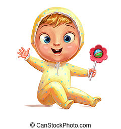 Funny baby with a rattle. Congratulations on the birth of a ...