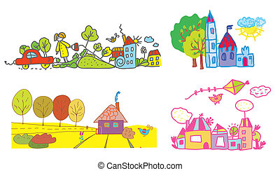 Funny background for kids - summer and autumn