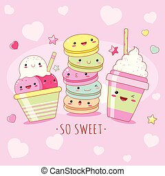 Funny background with cute sweet icons in kawaii style