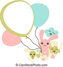 Funny background with kawaii doodle. - Funny background with...