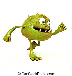 Funny bacteria toon character