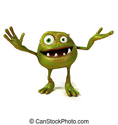Funny bacteria toon character - 3d rendered illustration of ...