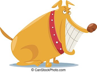 funny bad dog cartoon illustration - Cartoon Illustration of...