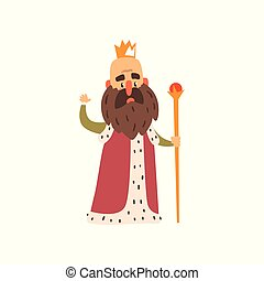 Funny bald bearded majestic king character cartoon vector...