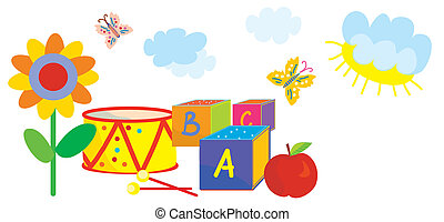 Funny banner for kids and kindergarten with toys, flowers,...
