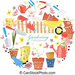funny banner with colorful gardening tools and equipments for yo