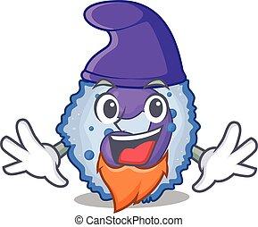 Funny basophil cell cartoon mascot performed as an Elf. ...