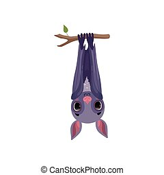 Funny bat hanging upside down on tree branch, cute creature cartoon character vector Illustration on a white background
