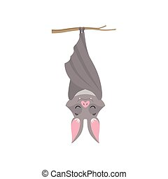 Funny bat hanging upside down on tree branch wrapped in its wings, gray creature monster cartoon character vector Illustration on a white background
