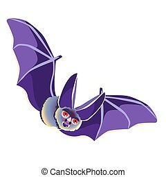 Funny bat isolated on white background. Vector cartoon close-up illustration.