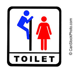 Funny Toilet Sign Male And Female Bathroom Black On White