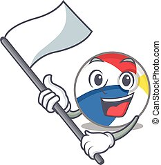 Funny beach ball cartoon character style holding a standing flag