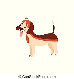 Funny beagle dog with tongue sticking out cartoon flat vector illustration isolated.