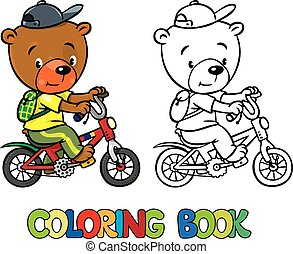 Funny bear on bicycle. Coloring book