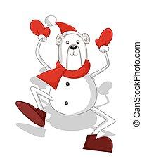 Funny Bear Santa Claus Dancing
