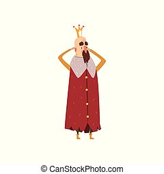 Funny bearded king character in red mantle holding his head cartoon vector Illustration