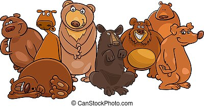 Funny bears cartoon animal characters