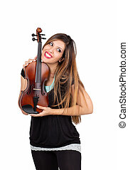 Funny beautiful woman holding her violin