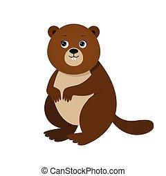 Funny beaver, illustration for children