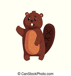 Funny beaver with brown fur, shaped tail, shiny eyes and big teeth. Cartoon rodent character waving by his paw. Flat vector design for children book, print or sticker