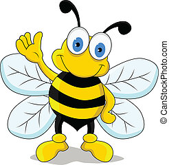 funny bee cartoon character - vector illustration of funny...