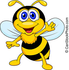 Funny bee cartoon waving - Vector illustration of funny bee...