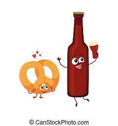 Funny beer bottle and salty pretzel characters having fun, celebrating