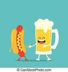 Funny beer with hot dog