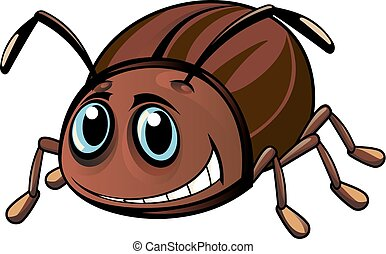 Funny beetle - Funny brown beetle in cartoon style. Vector...