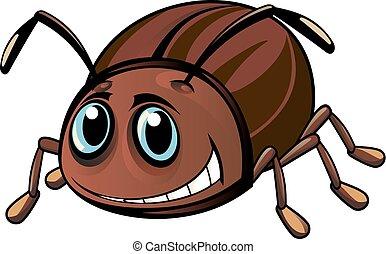 Funny beetle - Funny brown beetle in cartoon style. Vector ...