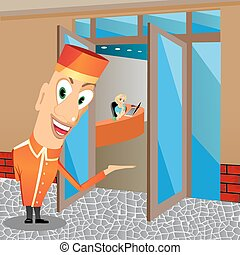 funny bellhop invites you to come - illustration of funny...