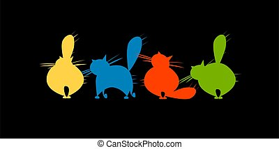 Funny big cats family, black silhouette