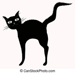Funny big-eyed black cat with raised downy tail. Eps 10