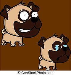 funny big head baby pug dog expressions collection set