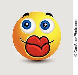 Funny Big Lips Smiley Vector