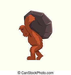 Funny bigfoot carrying heavy stone on his back, mythical creature cartoon character vector Illustration on a white background