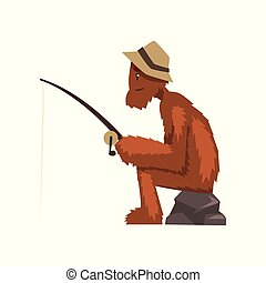 Funny bigfoot fishing with rod, mythical creature cartoon character vector Illustration on a white background