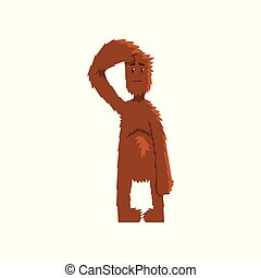 Funny bigfoot looking ahead into the distance, mythical creature cartoon character vector Illustration isolated on a white background.