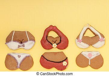 Funny bikini shape gingerbread cakes cookies sweet dessert...