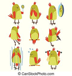 Funny Bird Cartoon Character in Different Situations Set, Cute Birdie with Bright Green Feathers Vector Illustration