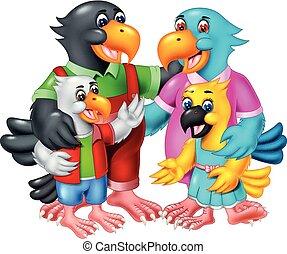 Funny Bird Family Cartoon