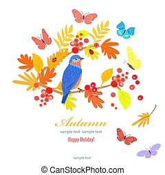 funny bird on branch of autumn tree for your design