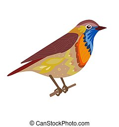 funny bird sitting on branch for your design