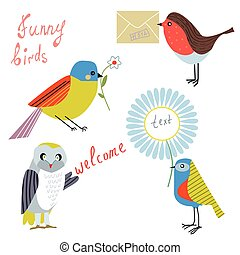 Funny bird with message, flowers, letters set