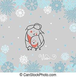 Funny birds bullfinch on winter background snowflakes