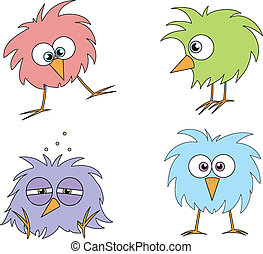 funny cartoon bird-like creatures