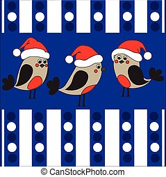 Funny birds in a christmas hats